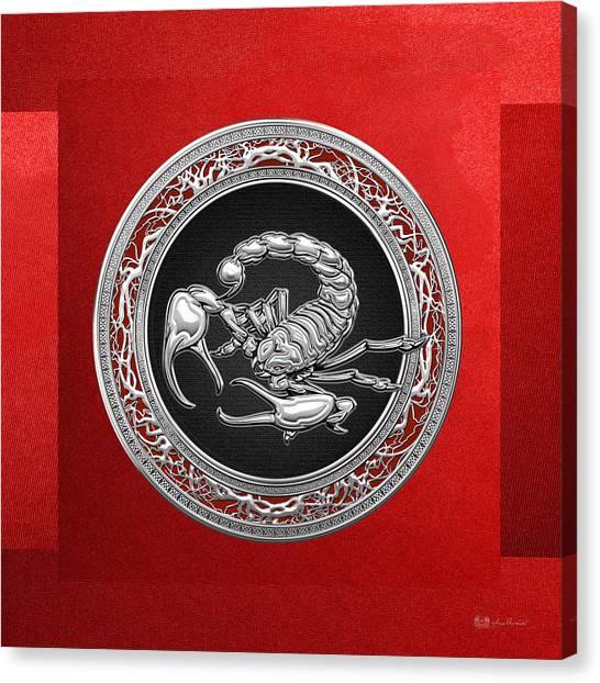 Retro Decor Canvas Print - Treasure Trove - Sacred Silver Scorpion On Red by Serge Averbukh