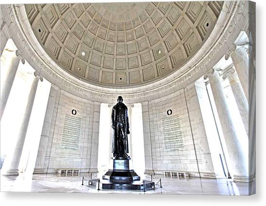 Jefferson Memorial Canvas Print - Truth And Reason by Mitch Cat