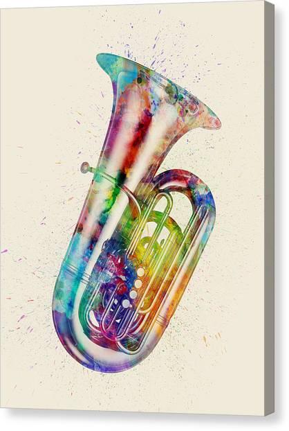 Tuba Canvas Print - Tuba Abstract Watercolor by Michael Tompsett