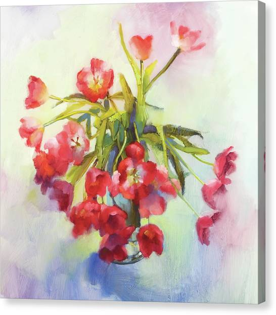 Tulip Fling Canvas Print by Cathy Locke