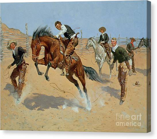 Rodeo Clown Canvas Print - Turn Him Loose by Frederic Remington