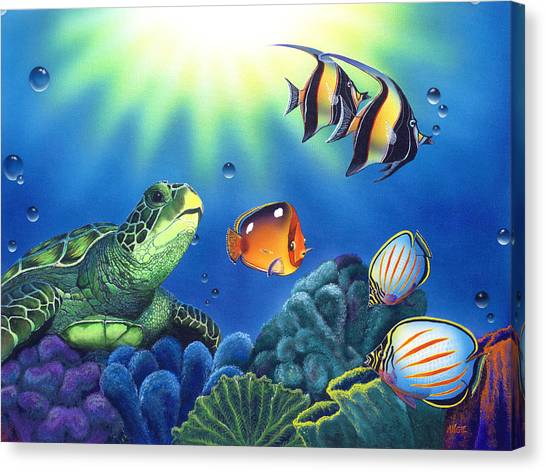 Bubbles Canvas Print - Turtle Dreams by Angie Hamlin