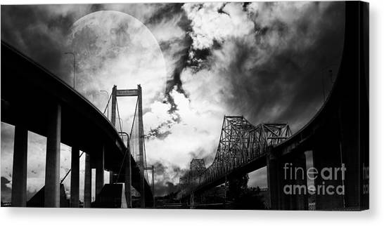 Two Bridges One Moon Canvas Print
