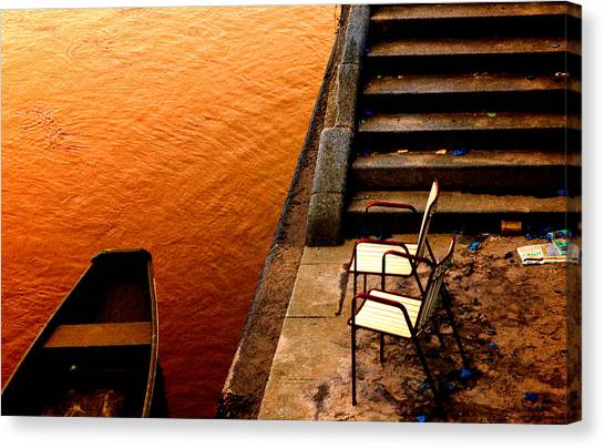 Two Chairs By The Stairs Canvas Print