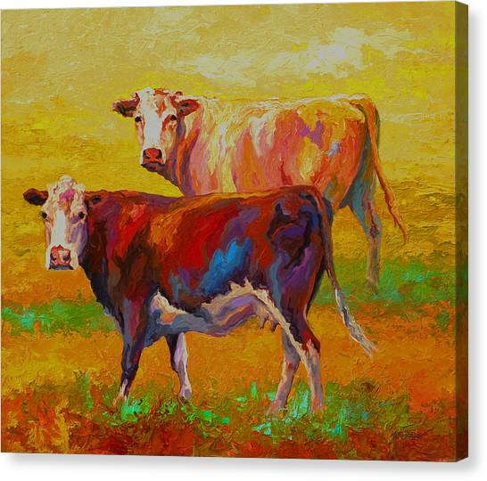 Cow Farms Canvas Print - Two Cows by Marion Rose