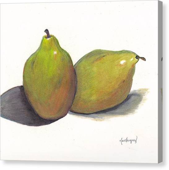 Two Green Pears Canvas Print by Lea Velasquez