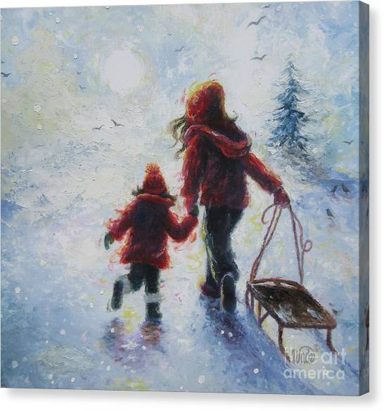 Big Sister Canvas Print - Two Sisters Going Sledding by Vickie Wade