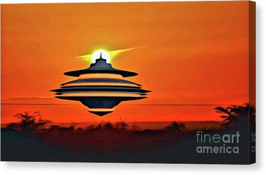 Monster Ufo Canvas Print - Ufo At Sunset by Raphael Terra