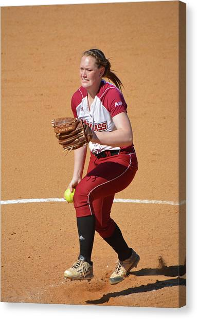 Atlantic 10 Canvas Print - Umass Pitcher... by Mike Martin