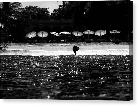 Canvas Print featuring the photograph Umbrellas by Nik West