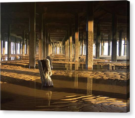Santa Monica Pier Canvas Print - Under The Pier by Martin Newman