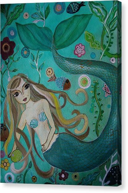 Angel Mermaids Ocean Canvas Print - Under The Sea by Pristine Cartera Turkus