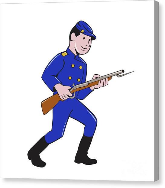 Volunteer Infantry Canvas Print - Union Army Soldier Bayonet Rifle Cartoon by Aloysius Patrimonio