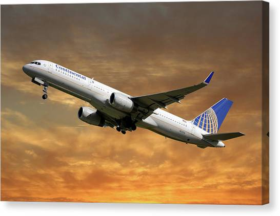 Airlines Canvas Print - United Airlines Boeing 757-224 by Smart Aviation