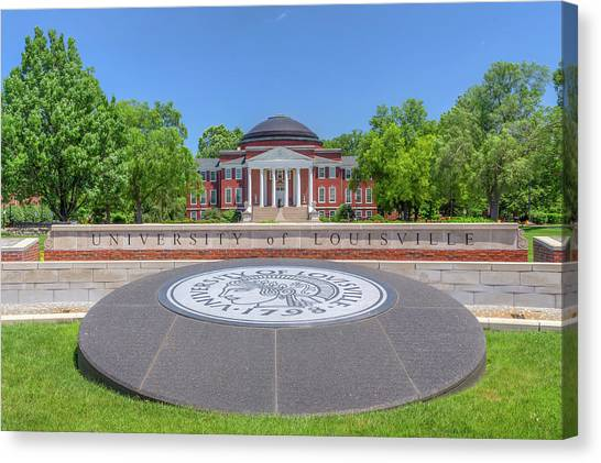 University Of Louisville Canvas Print - University Of Louisville Entrance And Logo by Ken Wolter
