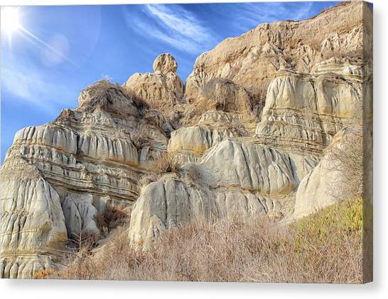 Canvas Print featuring the photograph Unstable Cliffs by Alison Frank