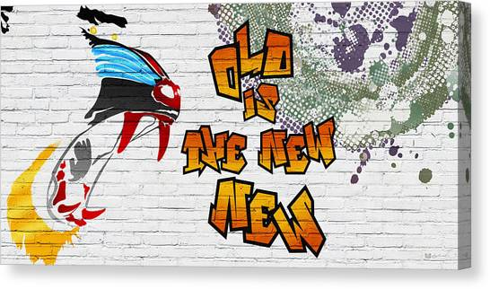 Pop Art Canvas Print - Urban Graffiti - Old Is The New New by Serge Averbukh