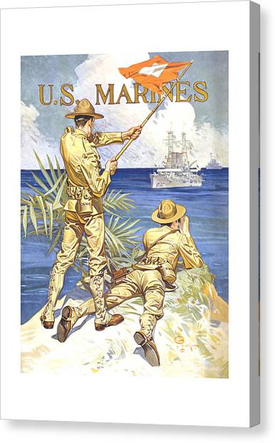 Battleship Canvas Print - Us Marines - Ww1 by War Is Hell Store