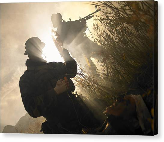 Navy Seal Canvas Print - U.s. Navy Seals Give First Aid by Tom Weber