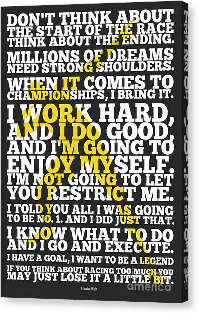 Jamaican Canvas Print - Usain Bolt Sport Inspirational Quotes Poster by Lab No 4 The Quotography Department