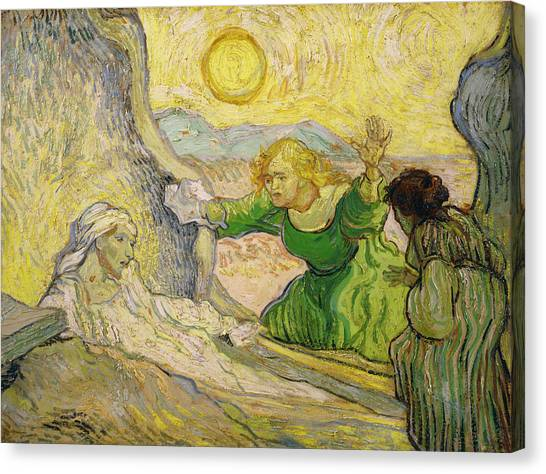 St Lazarus Canvas Print - Van Gogh Raising Of Lazarus After Rembrandt by Vincent van Gogh