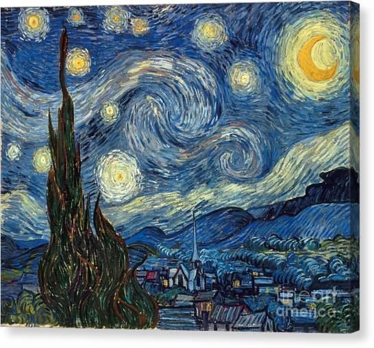 Moon Canvas Print - Van Gogh Starry Night by Granger