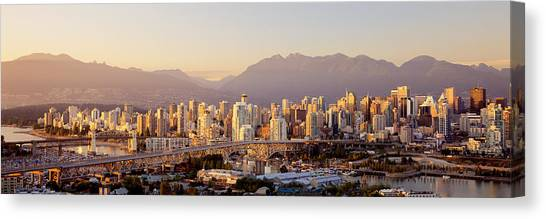 Vancouver Skyline Canvas Print - Vancouver British Columbia Canada by Panoramic Images