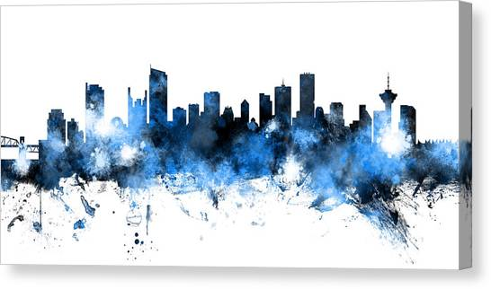 Vancouver Canvas Print - Vancouver Canada Skyline Panoramic by Michael Tompsett