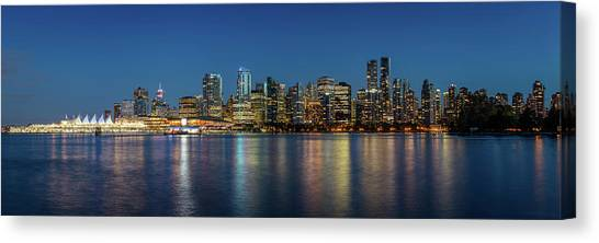 Canvas Print featuring the photograph Vancouver City Twilight by Pierre Leclerc Photography