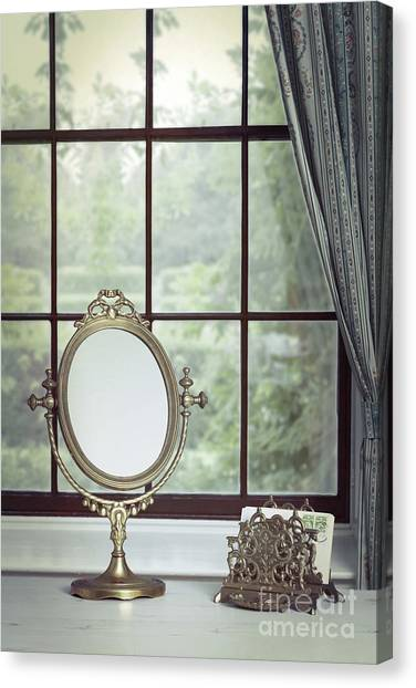 Decorative Glass Canvas Print   Vanity Mirror In The Window By Amanda Elwell
