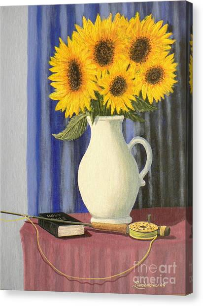 Vase Of Sunflowers Canvas Print by Don Lindemann