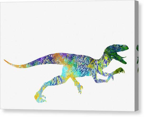 Velociraptor Canvas Print - Velociraptor-colorful by Erzebet S