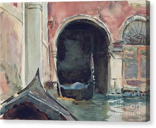 John Boats Canvas Print - Venetian Canal by John Singer Sargent