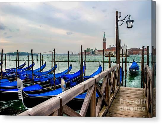 Venice Canal Gondolas  Canvas Print by Ken Andersen