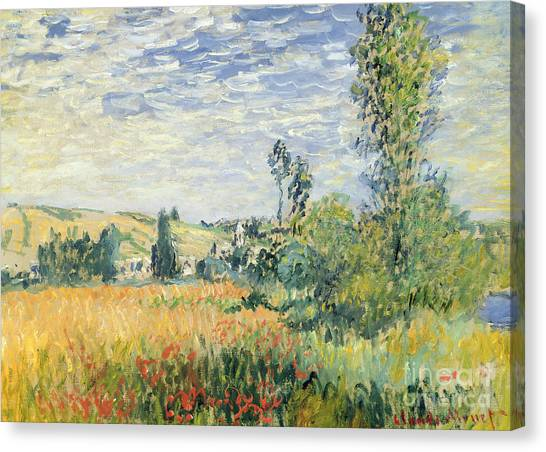 Rolling Hills Canvas Print - Vetheuil by Claude Monet