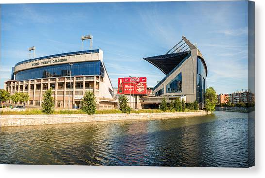 Atletico Madrid Canvas Print - Vicente Calderon Stadium Home Of Atletico De Madrid Spain by Eduardo Huelin