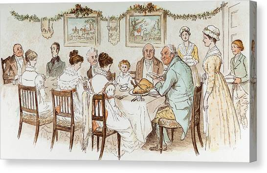 Dinner Table Canvas Print - Victorian Christmas Card by English School