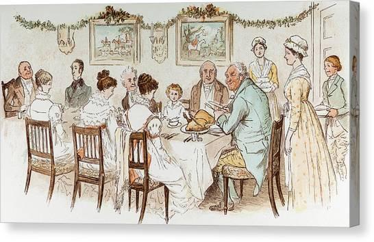 Turkey Dinner Canvas Print - Victorian Christmas Card by English School