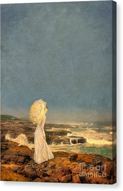 Victorian Lady By The Sea Canvas Print