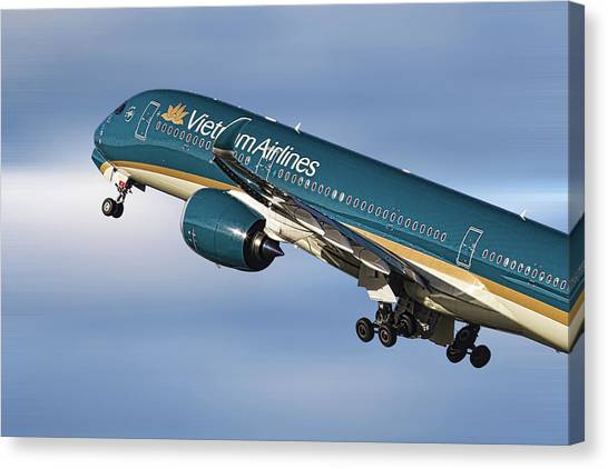 Vietnamese Canvas Print - Vietnam Airlines Airbus A350 by Smart Aviation