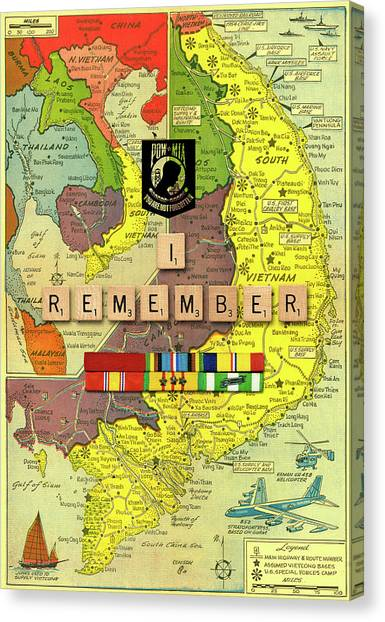 Vietnam War Canvas Print - Vietnam War Map 2 by Gary Grayson