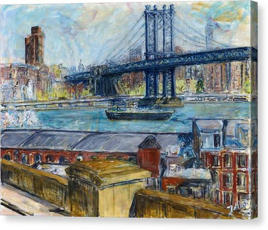 View From Brooklyn Bridge Canvas Print by Joan De Bot