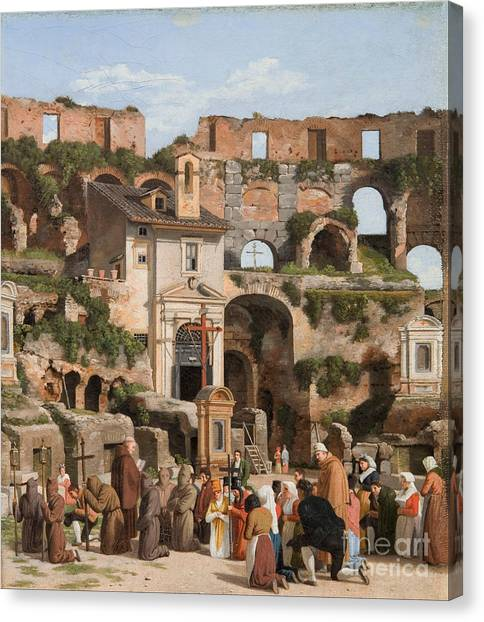 The Colosseum Canvas Print - View Of The Interior Of The Colosseum by Celestial Images