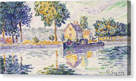 Divisionism Canvas Print - View Of The Seine, Samois by Paul Signac