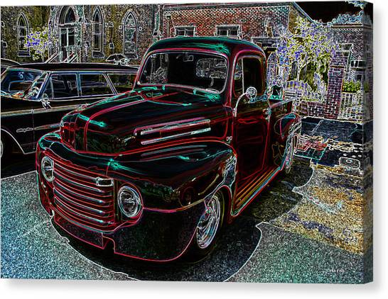 Vintage Chevy Truck Neon Art Canvas Print