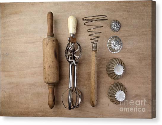 Utensil Canvas Print - Vintage Cooking Utensils by Nailia Schwarz