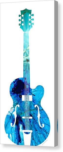 Acoustic Guitars Canvas Print - Vintage Guitar 2 - Colorful Abstract Musical Instrument by Sharon Cummings