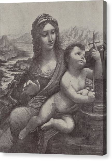 The Christ Ink Drawing Canvas Print - Virgin And Child by Leonardo Da Vinci