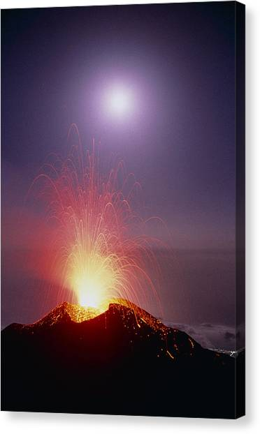 Mount Etna Canvas Print - Volcano At Night by Dr Juerg Alean