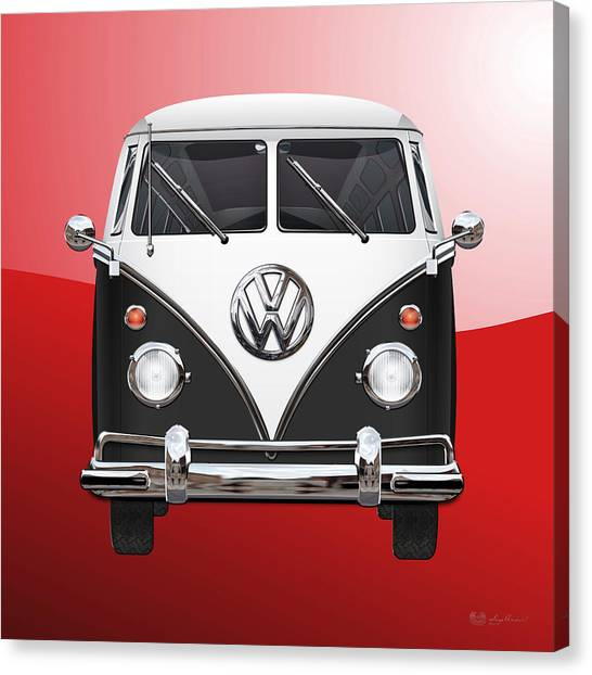Automobiles Canvas Print - Volkswagen Type 2 - Black And White Volkswagen T 1 Samba Bus On Red  by Serge Averbukh